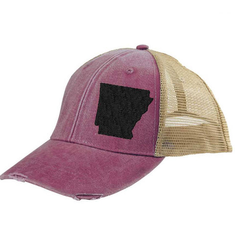 Arkansas Hat - Distressed Snapback Trucker Hat - off-center state pride hat - Pick your colors
