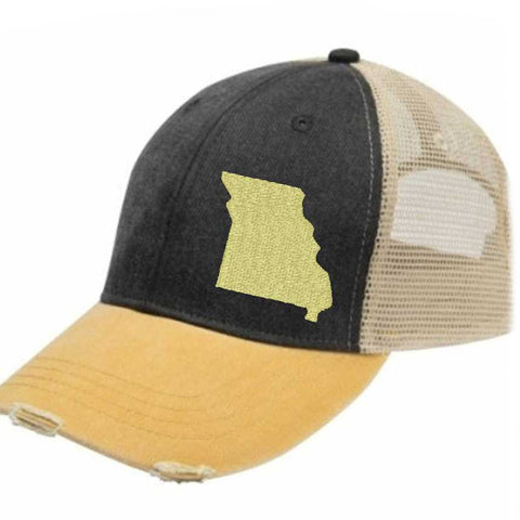 MissouriTrucker Hat - Distressed Snapback -off-center state