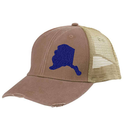 Alaska Hat - Distressed Snapback Trucker Hat - off-center state pride hat - Pick your colors
