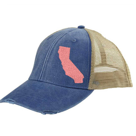 California Hat - Distressed Snapback Trucker Hat - off-center state pride hat - Pick your colors