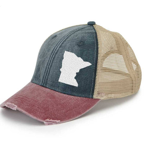 Distressed Snapback Trucker Hat -  Minnesota off-center state pride hat - Many Colors available