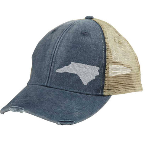 North Carolina Hat - Distressed Snapback Trucker Hat - off-center state pride hat - Pick your colors