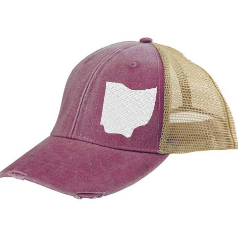 Ohio  Hat - Distressed Snapback Trucker Hat - off-center state pride hat - Pick your colors