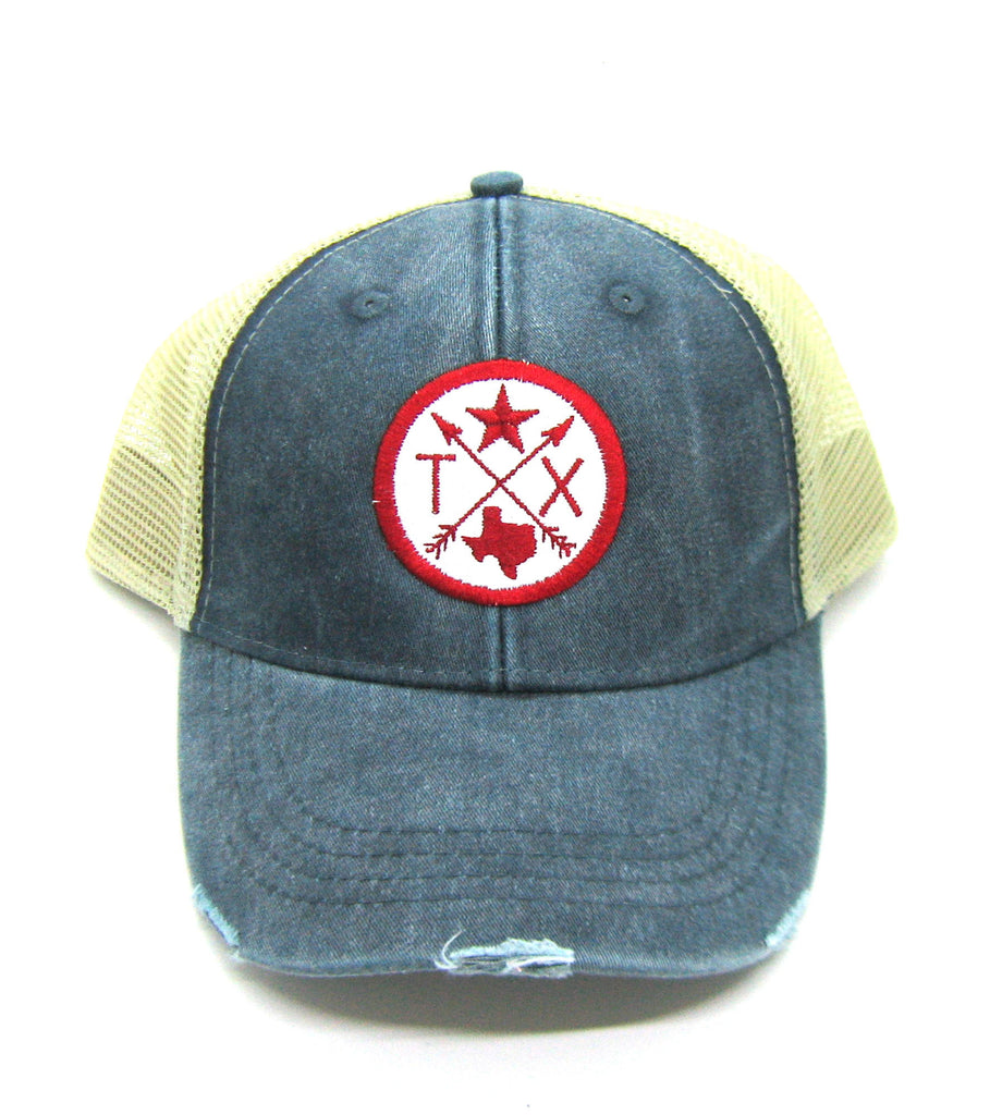 Texas Trucker Hat - Navy Blue Distressed Snapback Trucker Hat - Texas Star Arrow Compass Patch