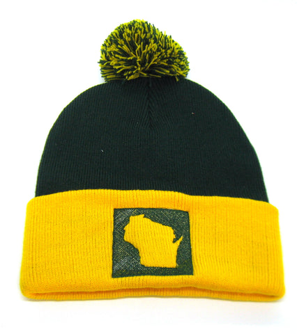 Wisconsin Beanie Green and Gold - Green Bay Pom Pom Beanie Hat