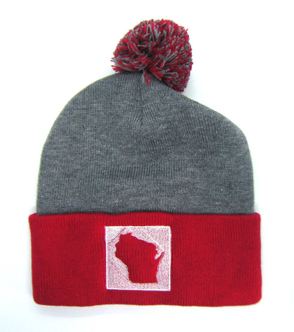 Wisconsin Beanie with Pom Pom - Gray and Red Pom Pom Beanie Hat