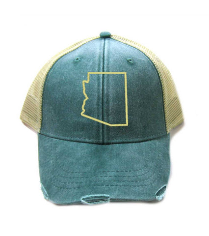 Arizona Hat - Distressed Snapback Trucker Hat - Arizona State Outline - Many Colors Available