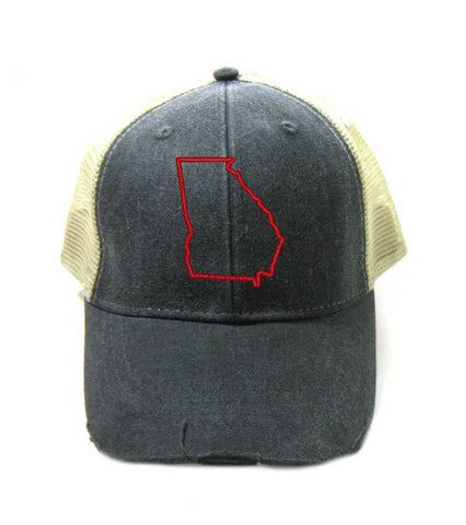 Georgia Hat - Distressed Snapback Trucker Hat - Georgia State Outline - Many Colors Available