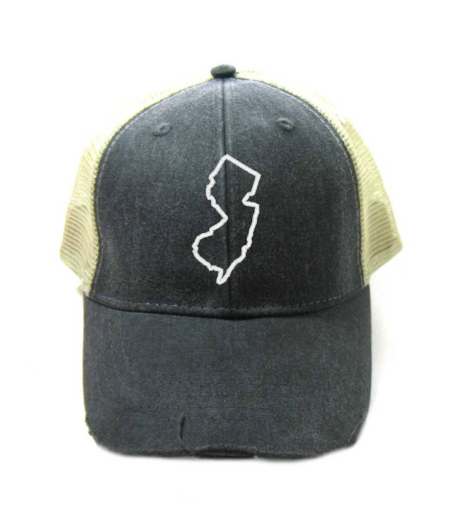 New Jersey Hat - Distressed Snapback Trucker Hat - New Jersey State Outline - Many Colors Available