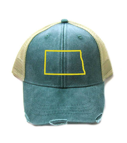 North Dakota Hat - Distressed Snapback Trucker Hat - North Dakota State Outline - Many Colors Available