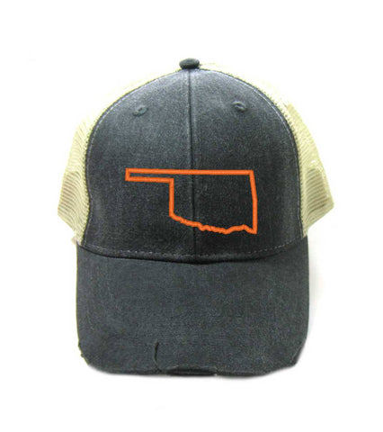 Oklahoma Hat - Distressed Snapback Trucker Hat - Oklahoma State Outline - Many Colors Available