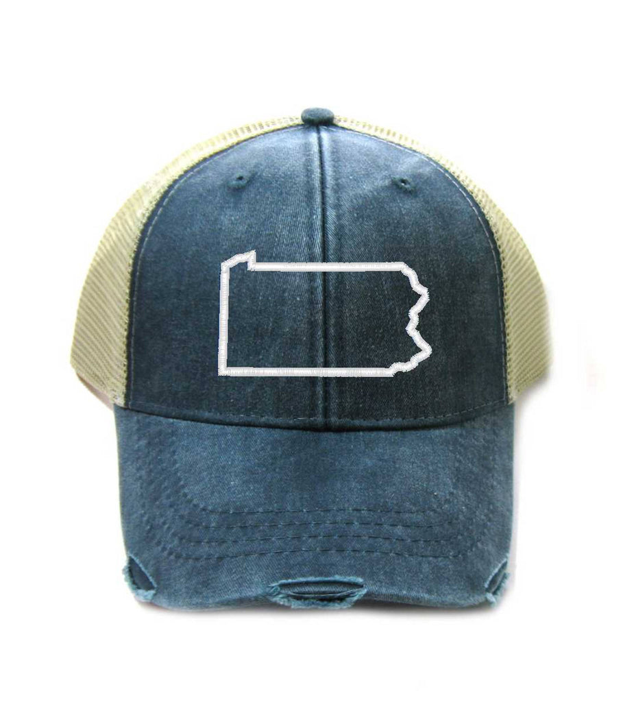 Pennsylvania Hat - Distressed Snapback Trucker Hat - Pennsylvania State Outline - Many Colors Available