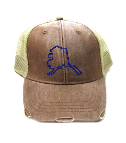 Alaska Hat - Distressed Snapback Trucker Hat - Alaska State Outline - Many Colors Available