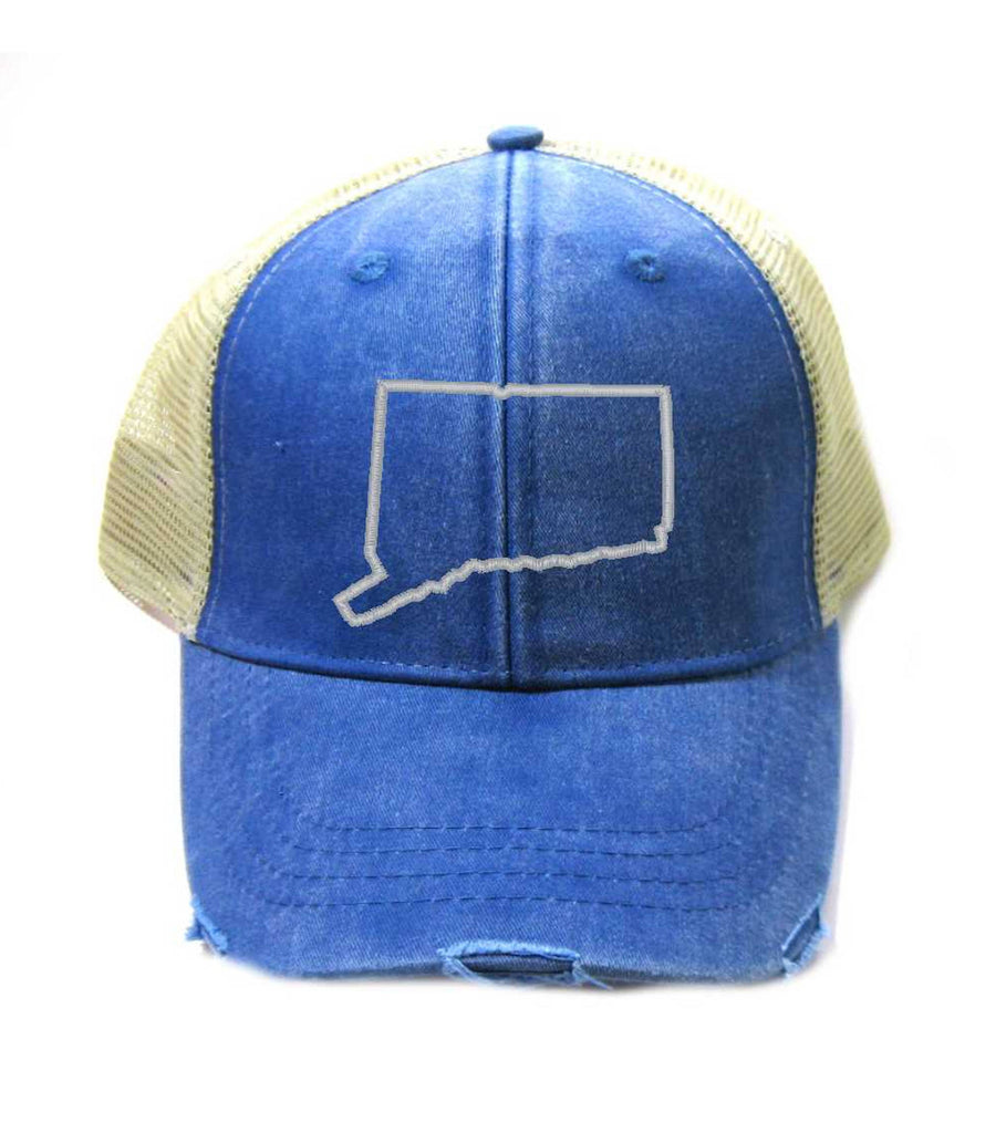 Connecticut Hat - Distressed Snapback Trucker Hat - Connecticut State Outline - Many Colors Available