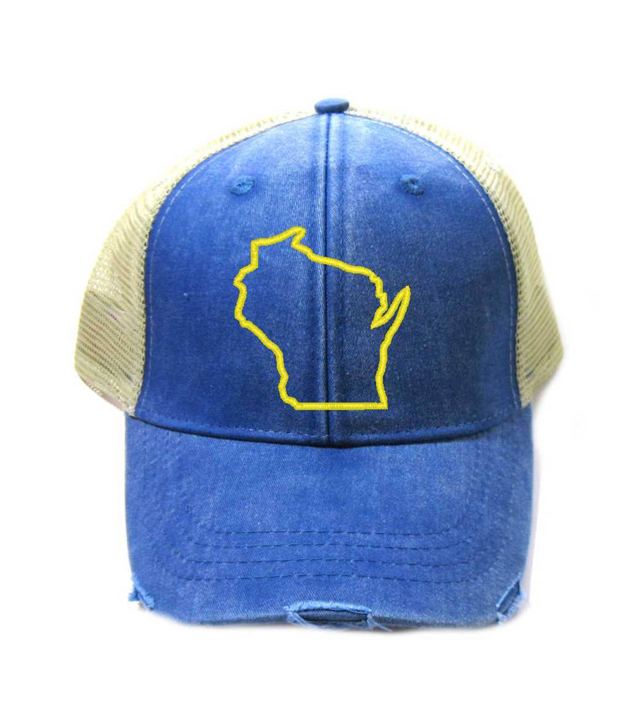 Wisconsin Hat - Distressed Snapback Trucker Hat - Wisconsin State Outline - Many Colors Available