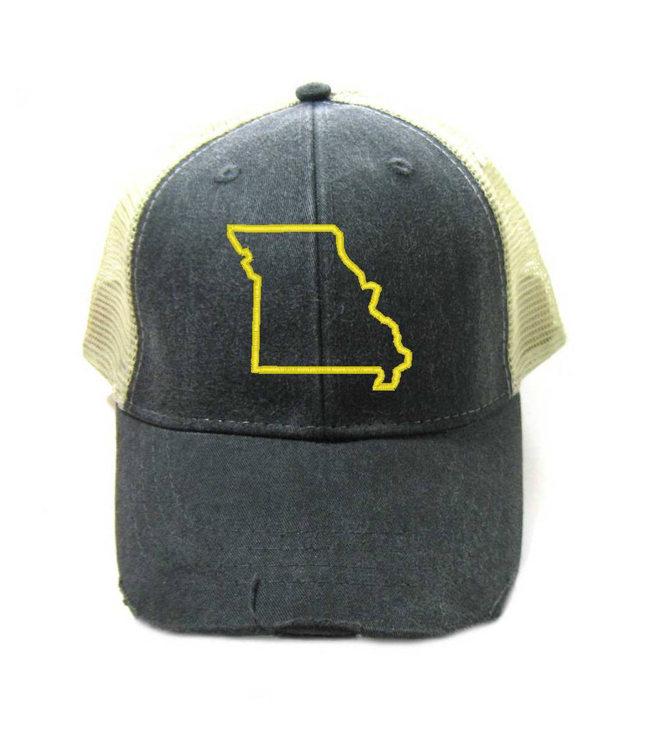 Missouri Hat - Distressed Snapback Trucker Hat - Missouri State Outline - Many Colors Available