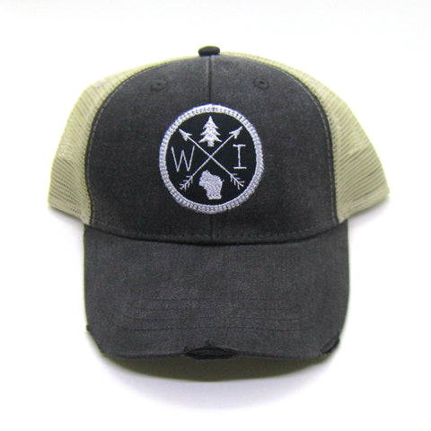 Wisconsin Hat - Black Distressed Snapback Trucker Hat - Wisconsin Patched Arrow Compass