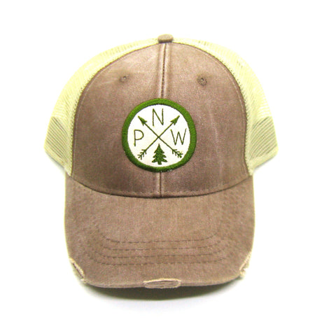 Pacific Northwest Hat - Mud Brown Distressed Snapback Trucker Hat - PNW Arrow Compass