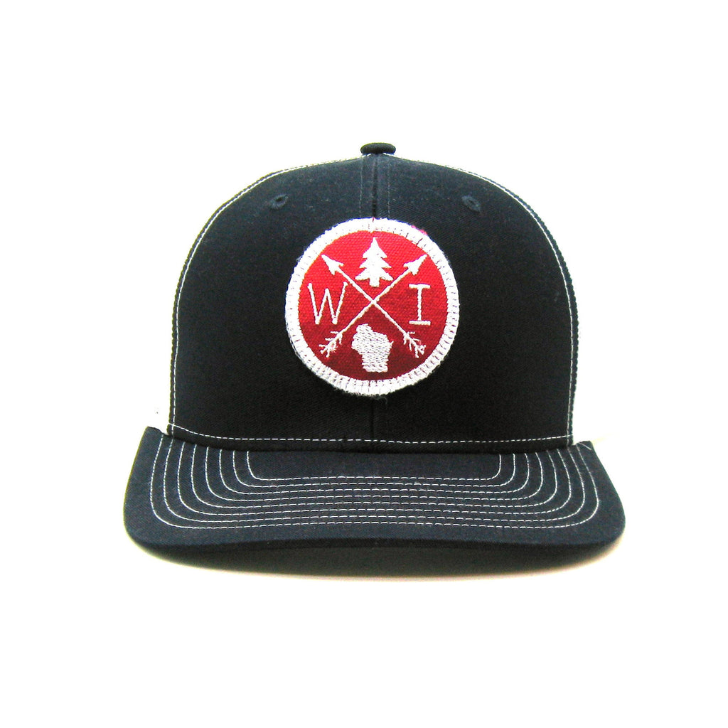 Wisconsin Hat - Navy Snapback with Red and White Arrow Patch