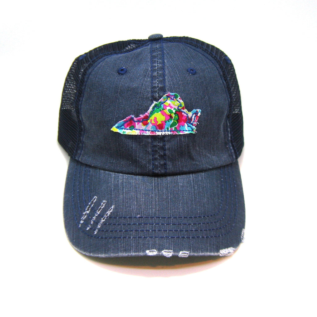 Virginia Trucker Hat - Distressed - Floral Fabric State Cutout