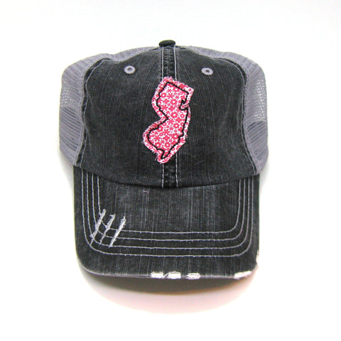 New Jersey Trucker Hat - Distressed - Floral Fabric State Cutout