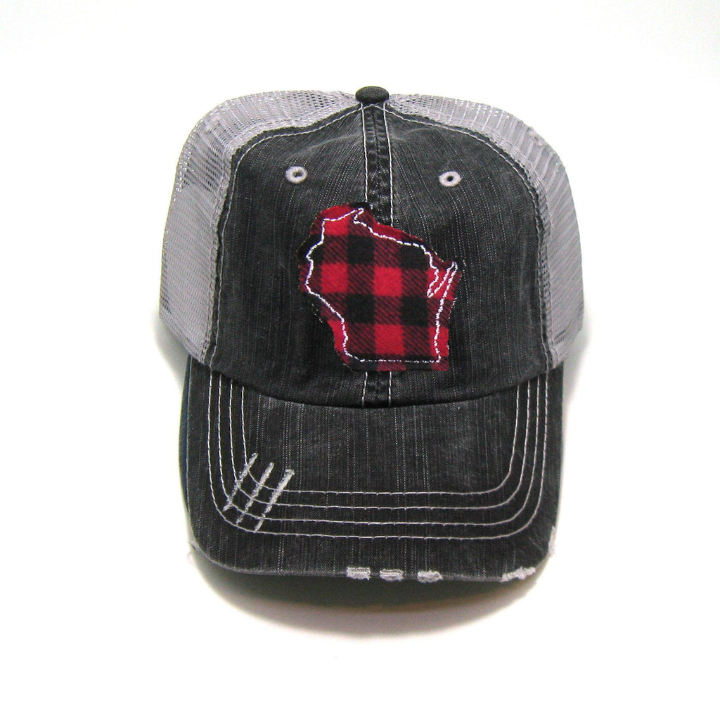 Gray Distressed Trucker Hat - Red Buffalo Check - All US States