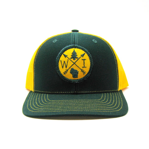 Wisconsin Hat - Green and Gold Snapback with Arrow Patch