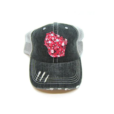 Ponytail or Messy Bun Trucker Cap Iowa Initials Hat Many Fabric Choices