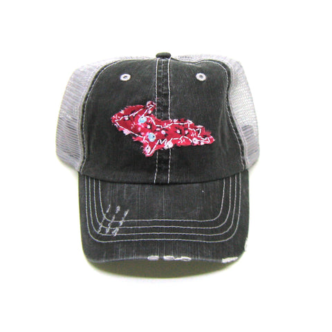 Upper Peninsula of Michigan Hat - Distressed - Floral Fabric  State Cutout
