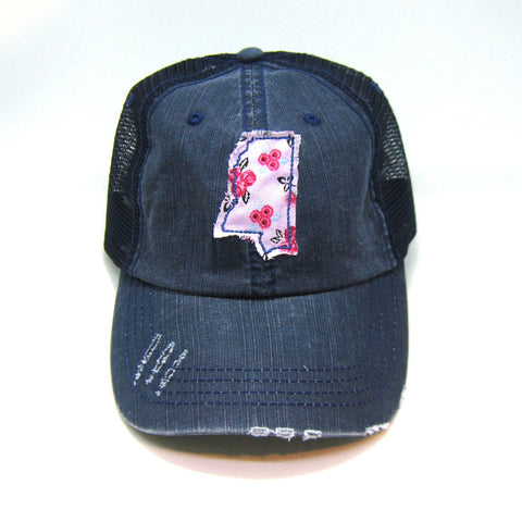 Mississippi Trucker Hat - Distressed - Floral Fabric State Cutout