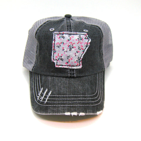 Arkansas Hat - Distressed Trucker Hat - Floral Fabric - Many Fabric Choices