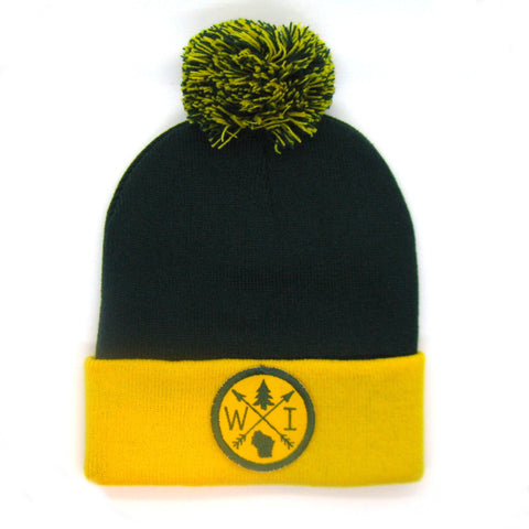 Wisconsin Beanie Green and Gold - Green Bay Pom Pom Hat
