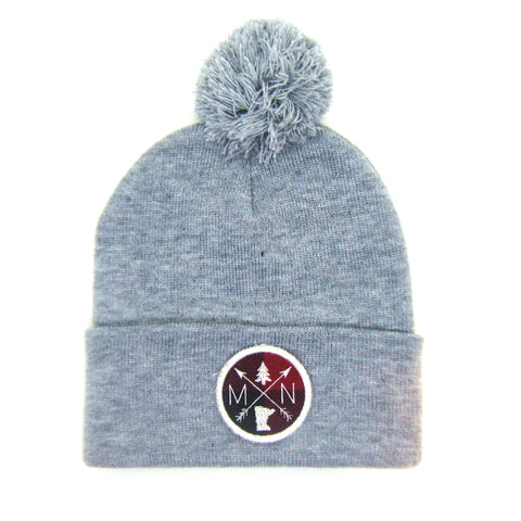 Minnesota Beanie Gray - Arrow Patch Pom Pom Hat