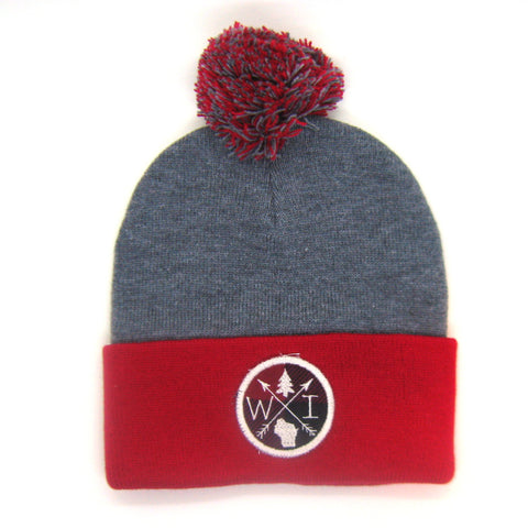 Wisconsin Beanie Gray and Red - Arrow Patch Pom Pom Hat