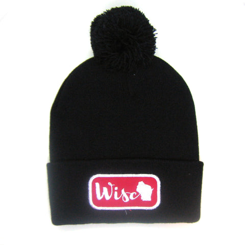 Wisconsin Beanie Black- Wisco Pom Pom Hat