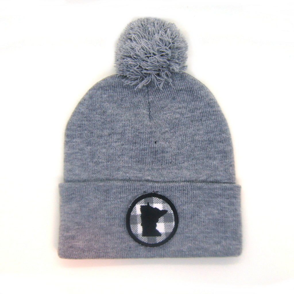 Minnesota Beanie Gray- Gray Plaid Patch Pom Pom Hat