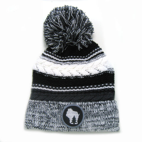 Pine in State Beanie - Gray Black White Pom Pom Hat