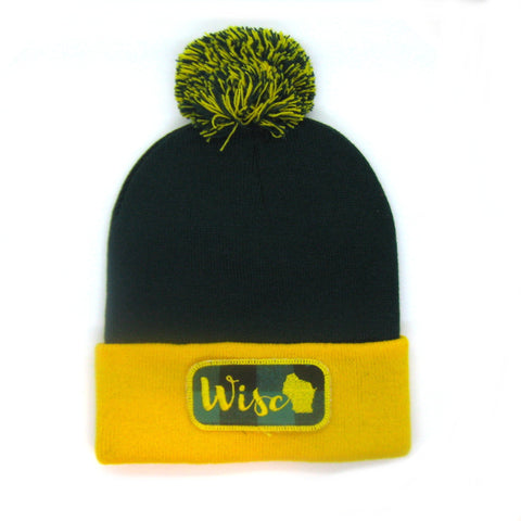 Wisconsin Beanie Green and Gold - Wisco Pom Pom Hat