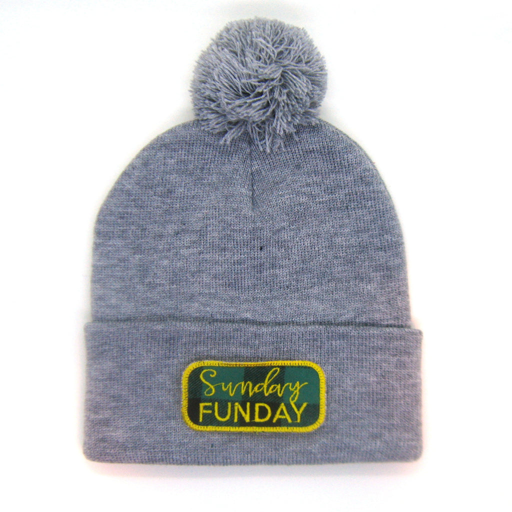 Sunday Funday Beanie Gray - Pom Pom Hat