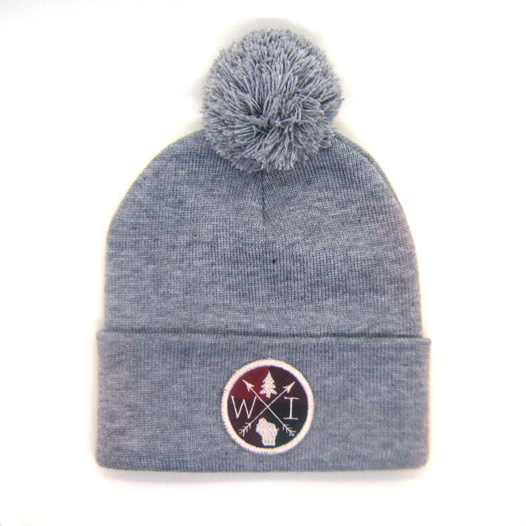 State Beanie Gray - Arrow Patch Pom Pom Hat