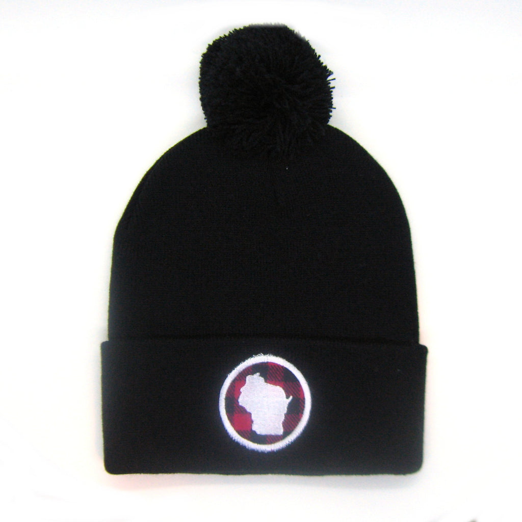 Wisconsin Beanie Black- Red Plaid Patch Pom Pom Hat