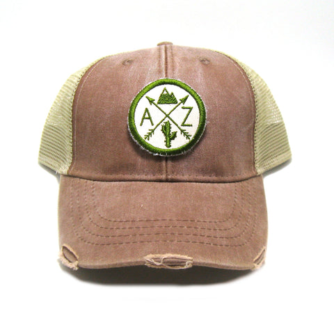 Arizona Hat - Distressed Snapback Trucker Hat - Arizona Arrow Compass Mountain