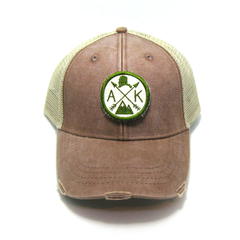 Alaska Hat - Distressed Snapback Trucker Hat - Alaska Arrow Compass