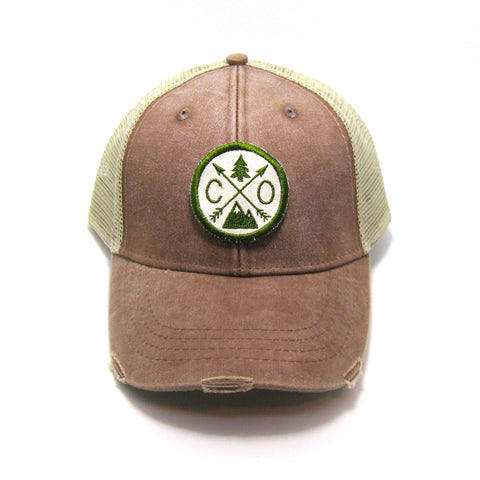 Colorado Hat - Distressed Snapback Trucker Hat - Colorado Arrow Compass