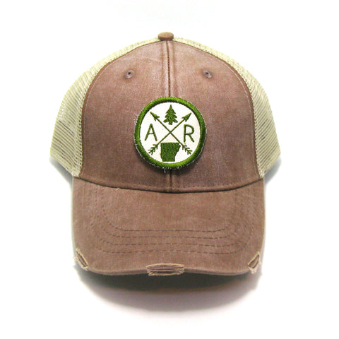 Arkansas Hat - Distressed Snapback Trucker Hat - Arkansas Arrow Compass