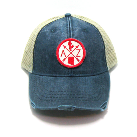 Arizona Hat - Distressed Snapback Trucker Hat - Arizona Arrow Compass