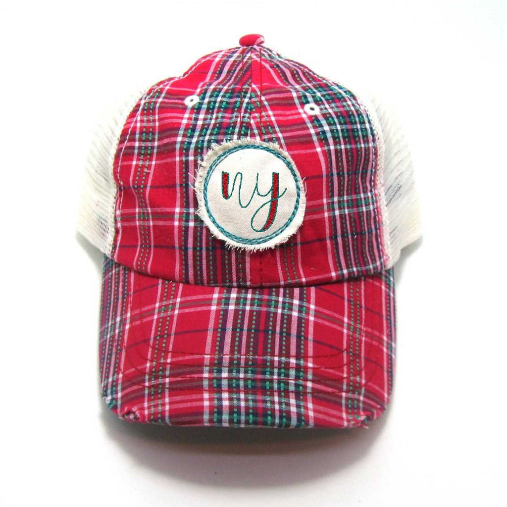 Red, Black, or Aqua New York Hat - Plaid Script NY Distressed Patch