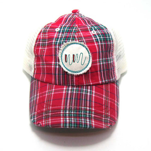 New Mexico Hat - Plaid Trucker with NM Distressed Patch