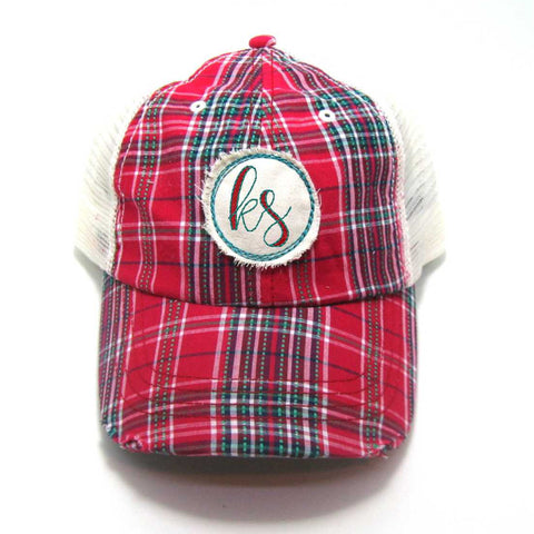 Kansas Hat - Plaid Trucker with KS Distressed Patch