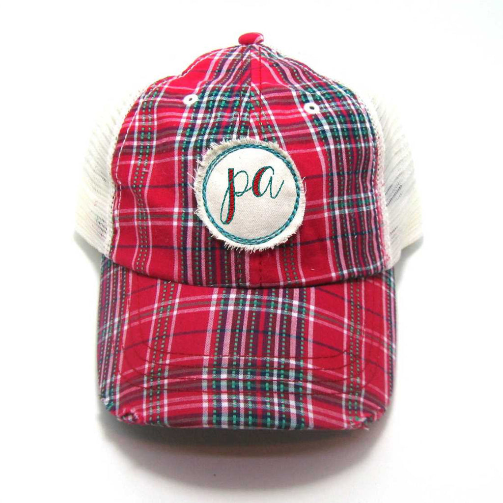 Red, Black, or Aqua Pennsylvania Hat - Plaid Script PA Distressed Patch
